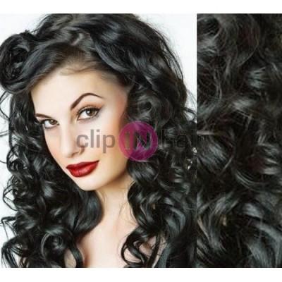 Clip in vlnité vlasy pravé lidské REMY 53cm - černá. Prodloužení vlasů ... b68d2c50fb